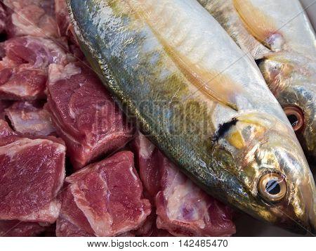 food ingredients Mackerel fish and Pork bones