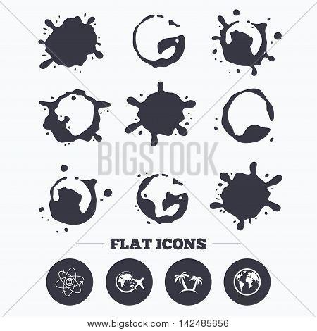 Paint, coffee or milk splash blots. Travel trip icon. Airplane, world globe symbols. Palm tree sign. Travel round the world. Smudges splashes drops. Vector