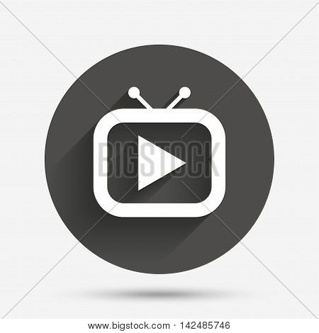 Retro TV mode sign icon. Television set symbol. Circle flat button with shadow. Vector