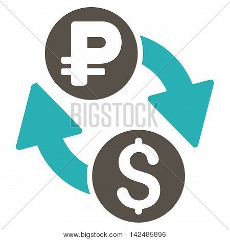 Dollar Rouble Exchange icon. Glyph style is bicolor flat iconic symbol with rounded angles, grey and cyan colors, white background.
