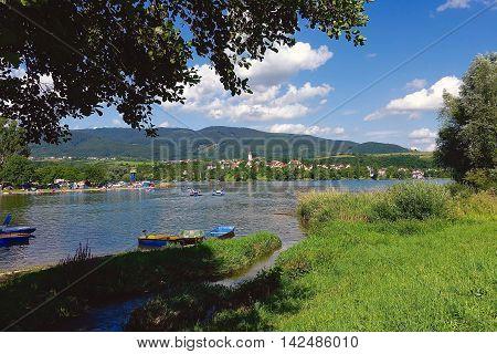 Nitrianske Rudno, Slovakia, July 30, 2016: At the barrier lake in Nitrianske Rudno in Slovakia.