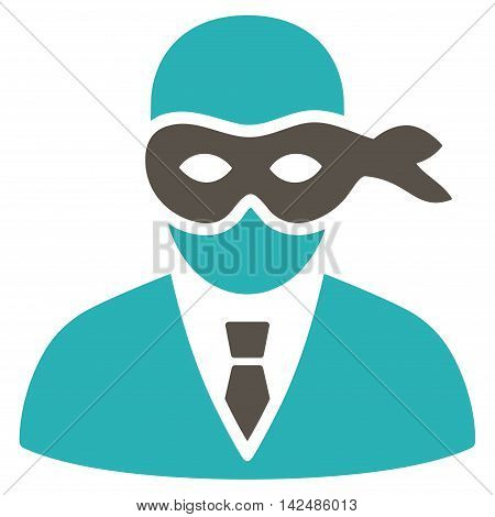 Masked Thief icon. Glyph style is bicolor flat iconic symbol with rounded angles, grey and cyan colors, white background.