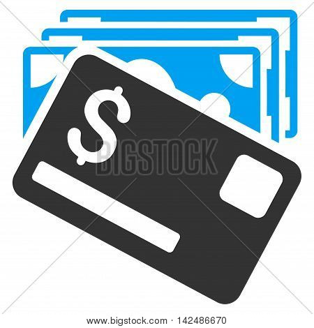 Banknotes and Card icon. Vector style is bicolor flat iconic symbol with rounded angles, blue and gray colors, white background.