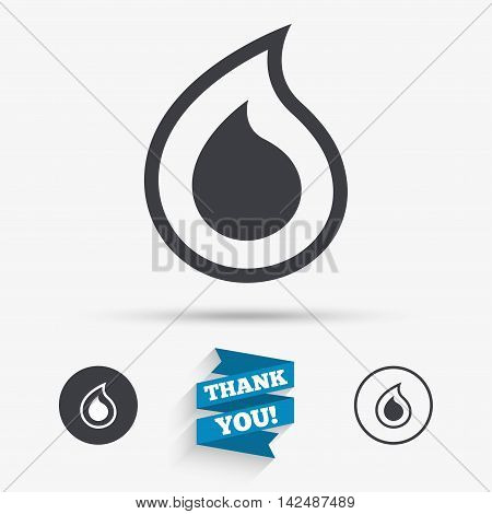 Water drop sign icon. Tear symbol. Flat icons. Buttons with icons. Thank you ribbon. Vector