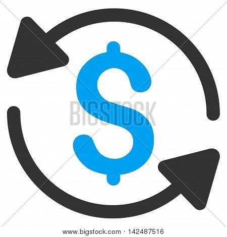 Money Turnover icon. Vector style is bicolor flat iconic symbol with rounded angles, blue and gray colors, white background.