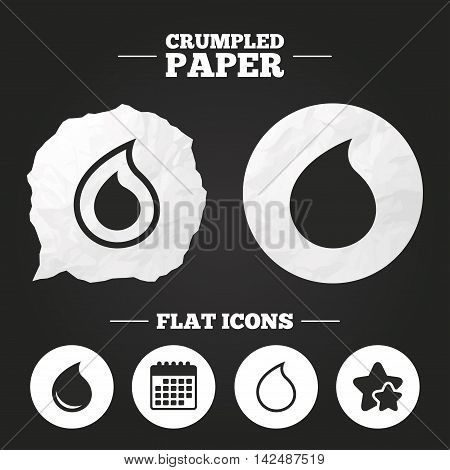 Crumpled paper speech bubble. Water drop icons. Tear or Oil drop symbols. Paper button. Vector