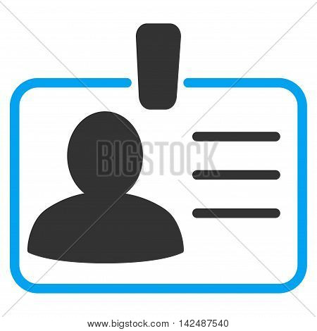 Personal Badge icon. Vector style is bicolor flat iconic symbol with rounded angles, blue and gray colors, white background.