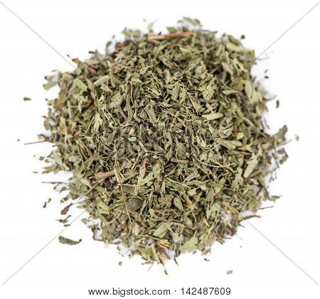 Dried Stevia Leaves Isolated On White