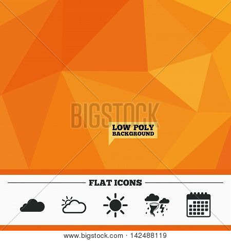 Triangular low poly orange background. Weather icons. Cloud and sun signs. Storm or thunderstorm with lightning symbol. Gale hurricane. Calendar flat icon. Vector