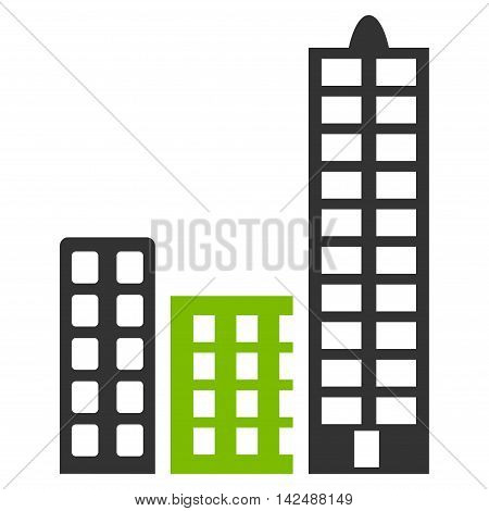 City icon. Vector style is bicolor flat iconic symbol with rounded angles, eco green and gray colors, white background.