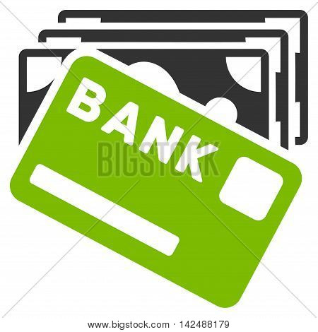 Credit Money icon. Vector style is bicolor flat iconic symbol with rounded angles, eco green and gray colors, white background.
