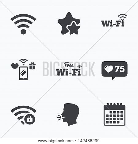 Free Wifi Wireless Network icons. Wi-fi zone locked symbols. Password protected Wi-fi sign. Flat talking head, calendar icons. Stars, like counter icons. Vector
