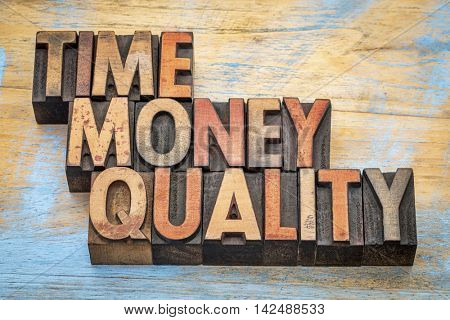 time, money, quality - word abstract in letterpress wood type
