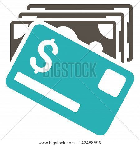 Banknotes and Card icon. Vector style is bicolor flat iconic symbol with rounded angles, grey and cyan colors, white background.