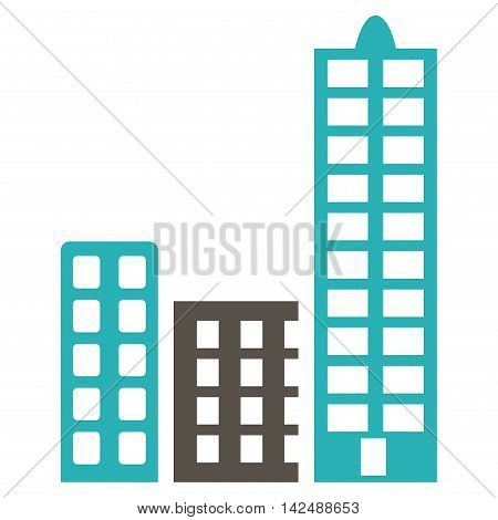 City icon. Vector style is bicolor flat iconic symbol with rounded angles, grey and cyan colors, white background.