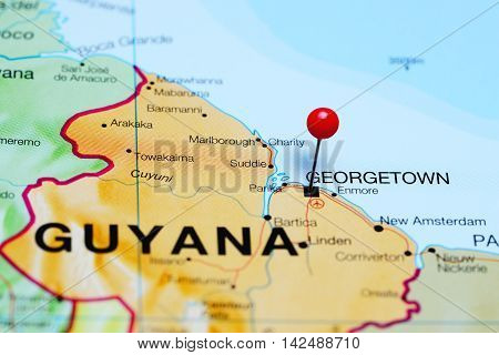 Georgetown pinned on a map of Guyana