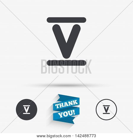 Roman numeral five sign icon. Roman number five symbol. Flat icons. Buttons with icons. Thank you ribbon. Vector