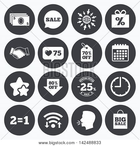 Calendar, wifi and clock symbols. Like counter, stars symbols. Sale discounts icon. Shopping, handshake and cash money signs. 25, 70 and 80 percent off. Special offer symbols. Talking head, go to web symbols. Vector