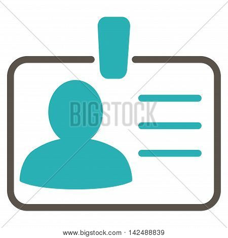 Personal Badge icon. Vector style is bicolor flat iconic symbol with rounded angles, grey and cyan colors, white background.