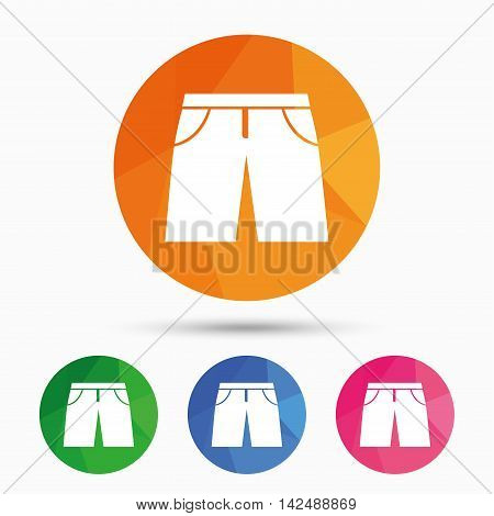Men's Bermuda shorts sign icon. Clothing symbol. Triangular low poly button with flat icon. Vector