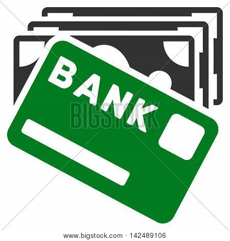 Credit Money icon. Vector style is bicolor flat iconic symbol with rounded angles, green and gray colors, white background.