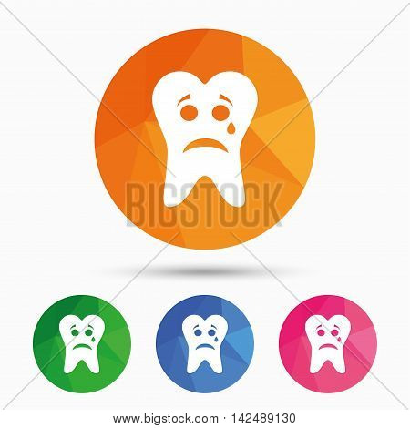 Tooth sad face with tear sign icon. Aching tooth symbol. Unhealthy teeth. Triangular low poly button with flat icon. Vector