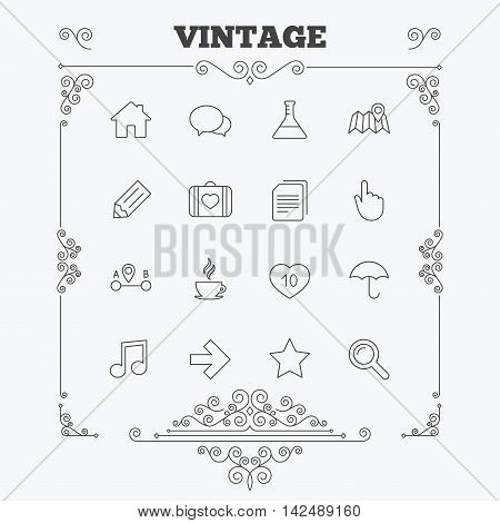 Universal icons. House building, speech bubbles and first aid box. Copy documents, like counter and hot coffee drink. Map pointer, arrow and favorite star. Vintage ornament patterns. Decoration design elements. Vector