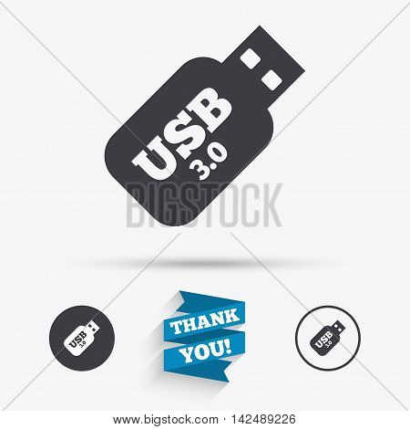 Usb 3.0 Stick sign icon. Usb flash drive button. Flat icons. Buttons with icons. Thank you ribbon. Vector