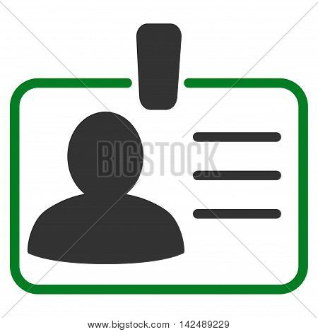 Personal Badge icon. Vector style is bicolor flat iconic symbol with rounded angles, green and gray colors, white background.