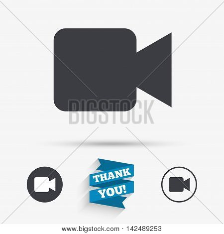 Video camera sign icon. Video content button. Flat icons. Buttons with icons. Thank you ribbon. Vector