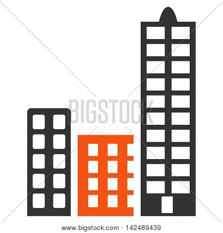 City icon. Vector style is bicolor flat iconic symbol with rounded angles, orange and gray colors, white background.