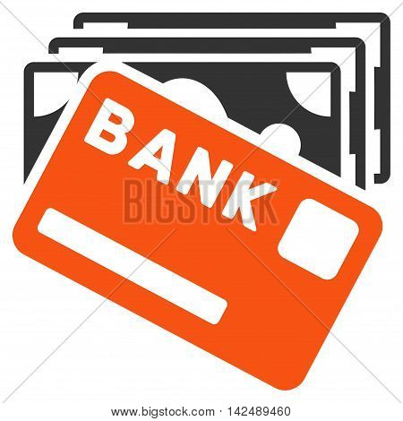 Credit Money icon. Vector style is bicolor flat iconic symbol with rounded angles, orange and gray colors, white background.