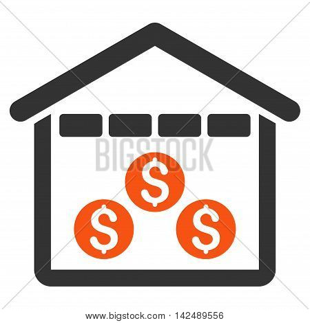 Money Depository icon. Vector style is bicolor flat iconic symbol with rounded angles, orange and gray colors, white background.