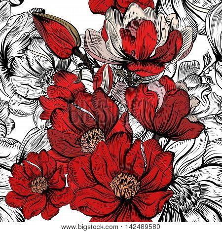 vector pattern with hand drawn magnolia flowers in red color