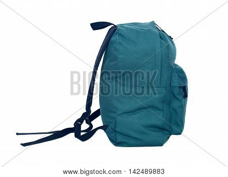 Forest green backpack rucksack bag separated on white background
