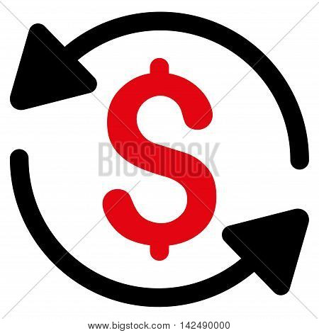 Money Turnover icon. Vector style is bicolor flat iconic symbol with rounded angles, intensive red and black colors, white background.