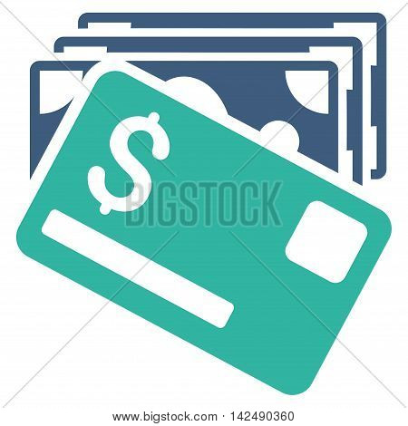 Banknotes and Card icon. Vector style is bicolor flat iconic symbol with rounded angles, cobalt and cyan colors, white background.