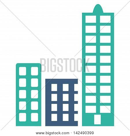 City icon. Vector style is bicolor flat iconic symbol with rounded angles, cobalt and cyan colors, white background.
