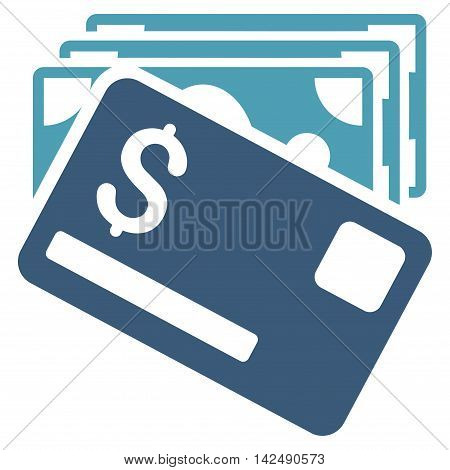 Banknotes and Card icon. Vector style is bicolor flat iconic symbol with rounded angles, cyan and blue colors, white background.