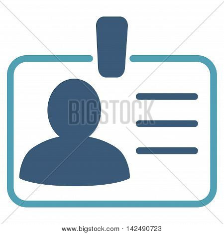 Personal Badge icon. Vector style is bicolor flat iconic symbol with rounded angles, cyan and blue colors, white background.