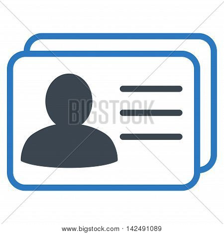 Account Cards icon. Vector style is bicolor flat iconic symbol with rounded angles, smooth blue colors, white background.