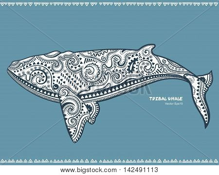 Ethnic Whale with tribal ornaments can be used as shirt print, coloring book, phone case print. Totem symbol animal