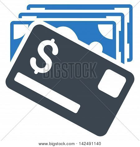 Banknotes and Card icon. Vector style is bicolor flat iconic symbol with rounded angles, smooth blue colors, white background.