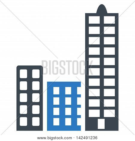 City icon. Vector style is bicolor flat iconic symbol with rounded angles, smooth blue colors, white background.