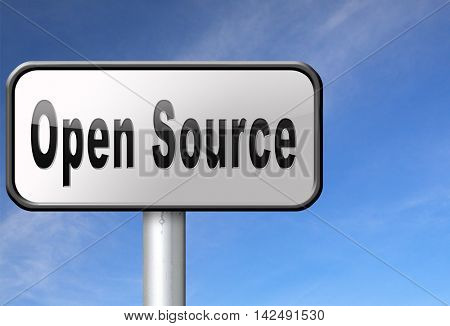 Open source program software program or economy freeware internet data computer sharing 3D illustration