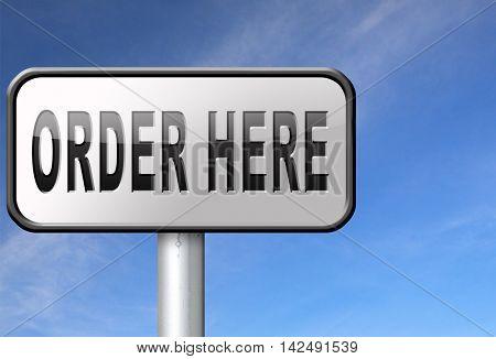 order here button on online internet webshop. Shopping road sign or webshop billboard. 3D illustration