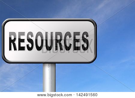 Resources human or natural resource road sign billboard 3D illustration
