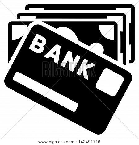 Credit Money icon. Vector style is flat iconic symbol with rounded angles, black color, white background.