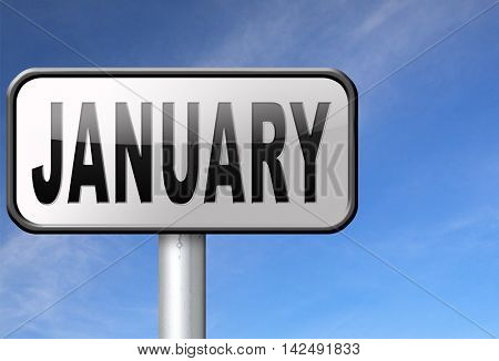 January the first month of the next year in winter season road sign billboard 3D illustration