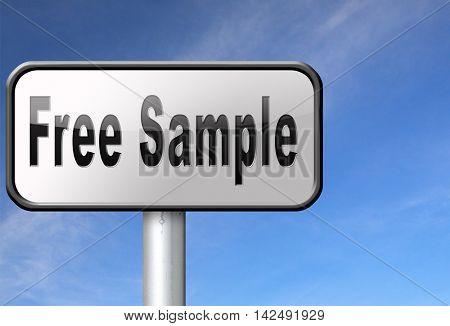 Free product sample offer or gratis download webshop button or web shop, road sign billboard.  3D illustration